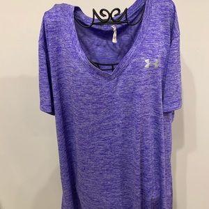 Under Armor purple V neck workout shirt
